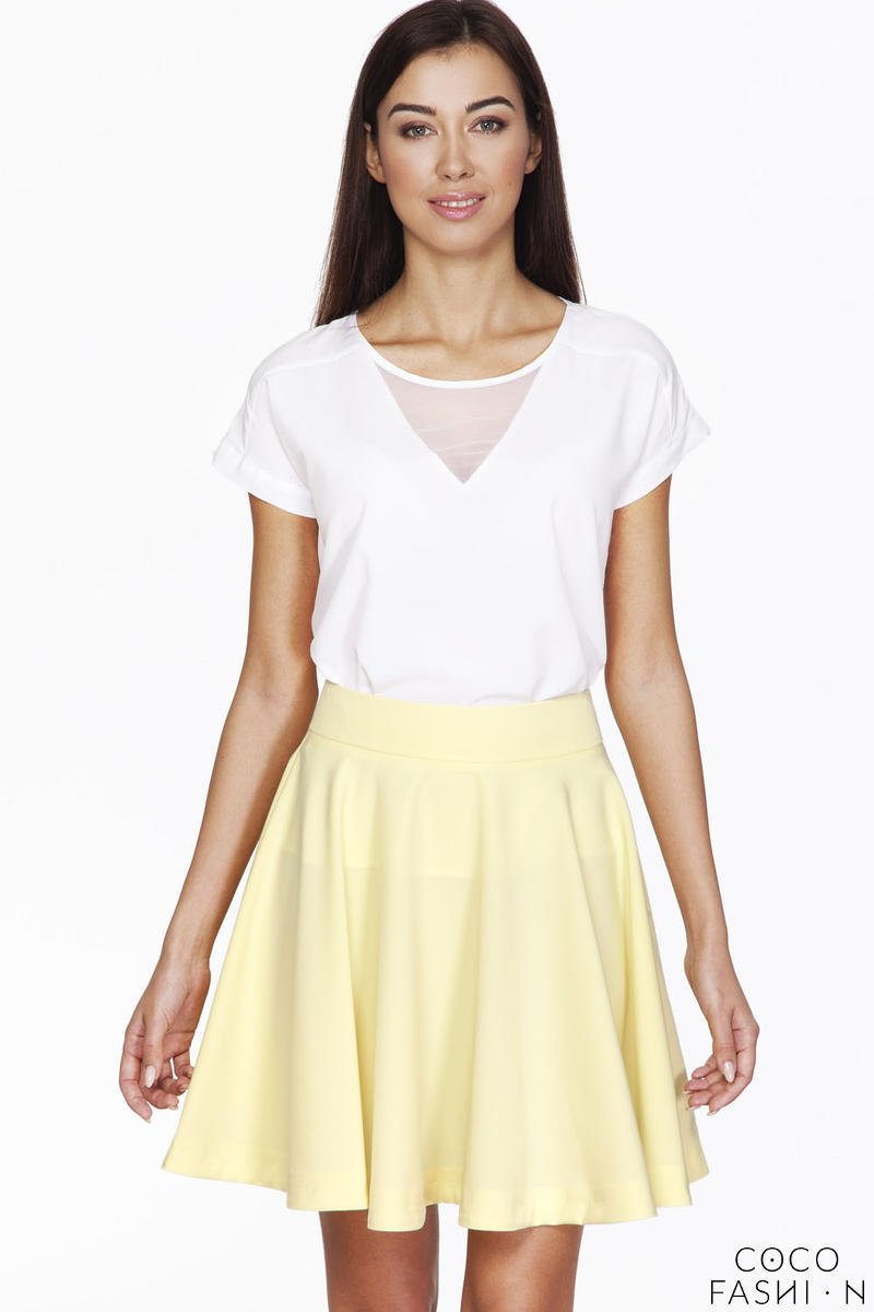 White Short Sleeves Blouse with Transparent Neckline