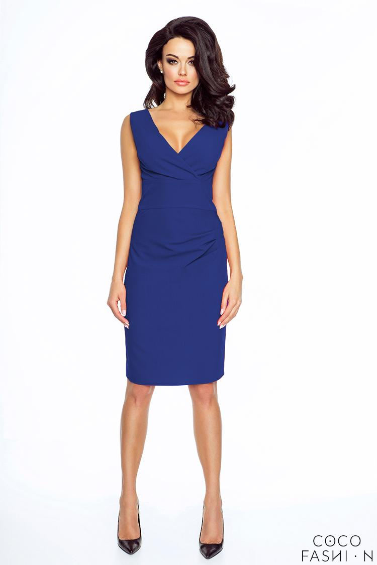 Blue Elegant Wrap Neckline Evening Dress