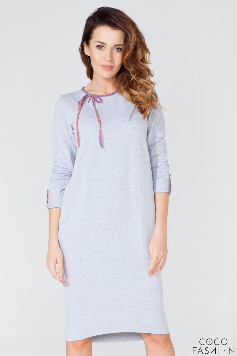 Light Grey Casual 3/4 Sleeves Dress with Colorful Piping