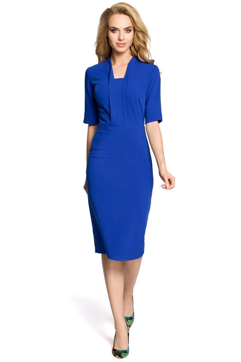 Blue Elegant Pencil Dress with Stylish Collar