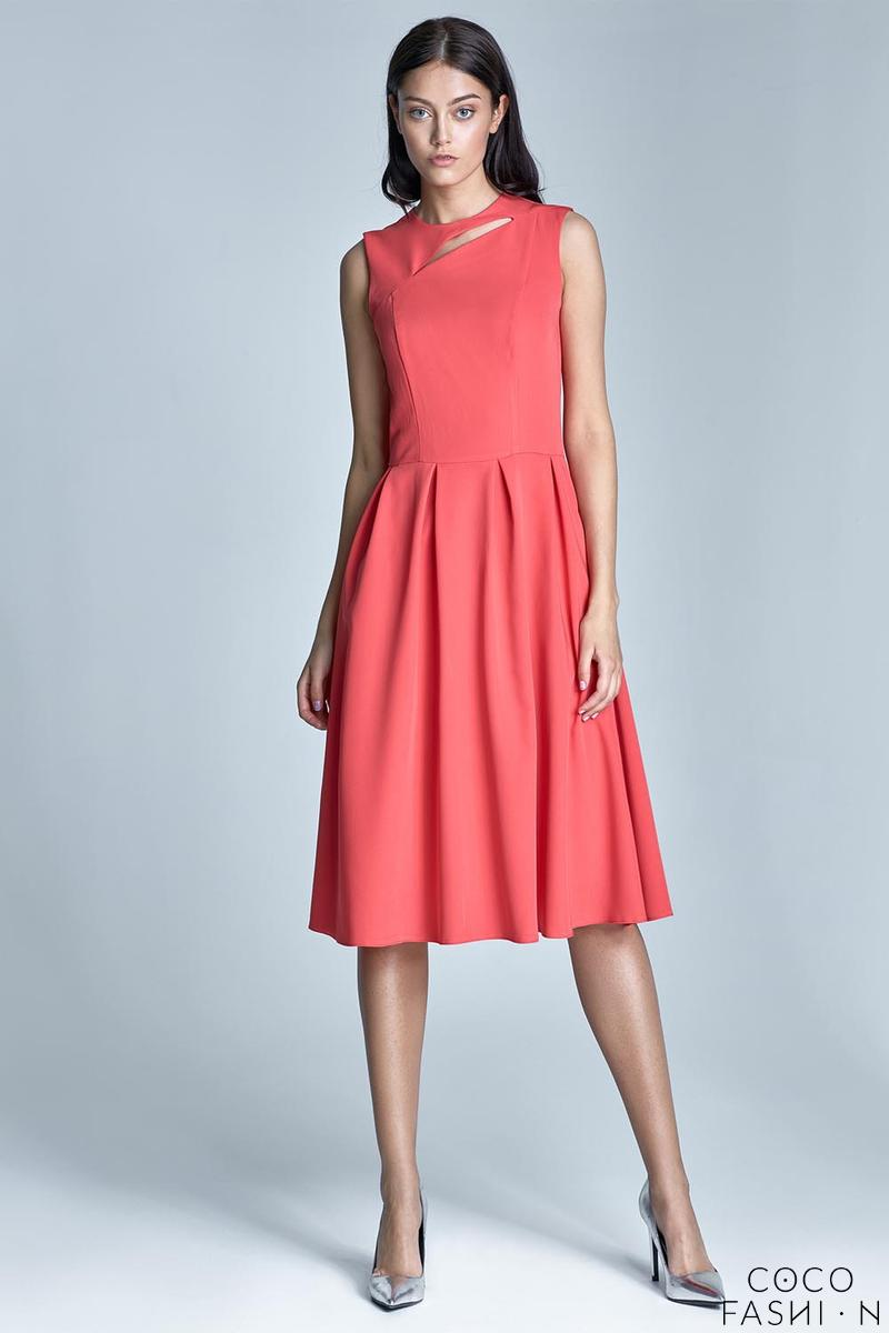 Coral Red Sleeveless Flared Midi Dress