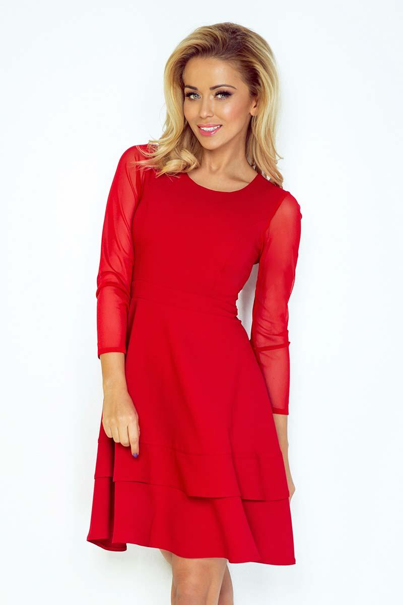 Red Coctail Dress with Transparent Sleeves