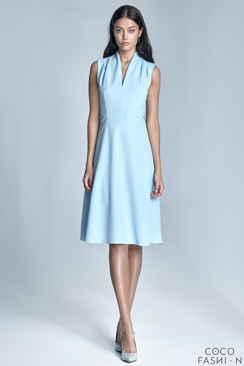 Light Blue V-Neckline Midi Dress