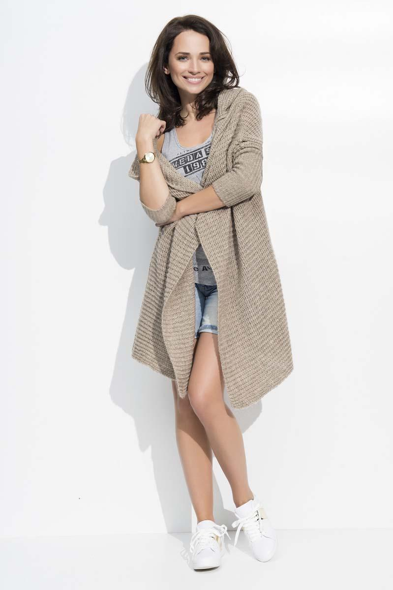 Cappuccino Long Hooded Cardigan