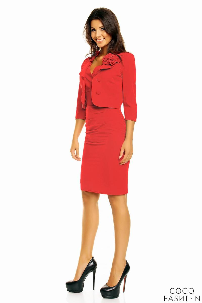 3246ee247a93 Red Elegant Set Fitted Dress and Short Jacket with Flower