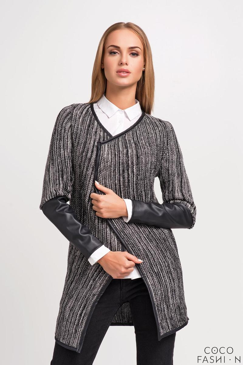 Black Elegant Cardigan with Eco-leather Piping and Sleeves