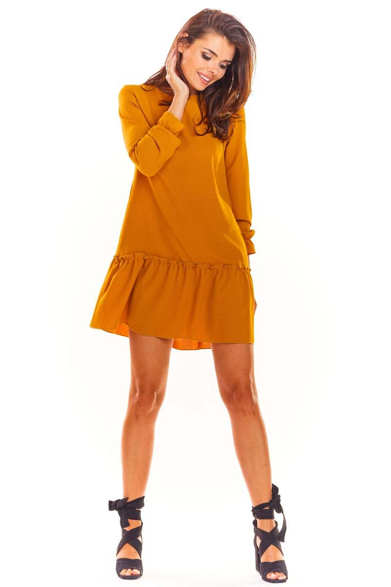 Camel Trapezoid Dress with a Sewn Flounce