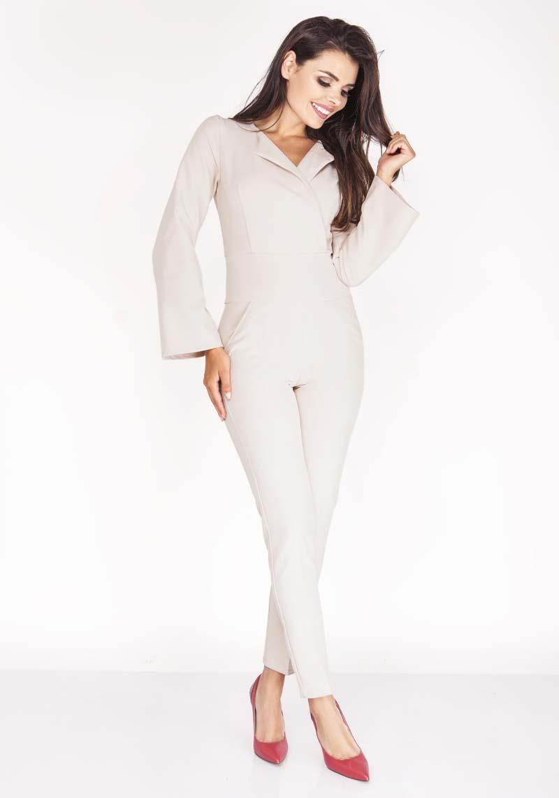 Beige Elegant Jumpsuit with Collar