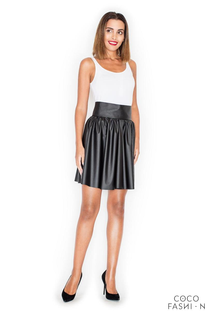 Black Flared High Waistband Leather Imitation Mini Skirt