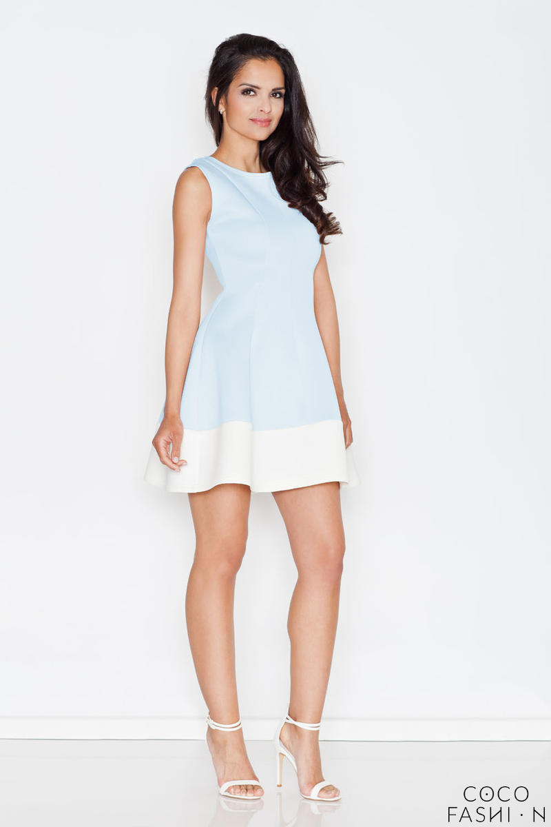 Blue Sleeveless Retro Style Mini Dress