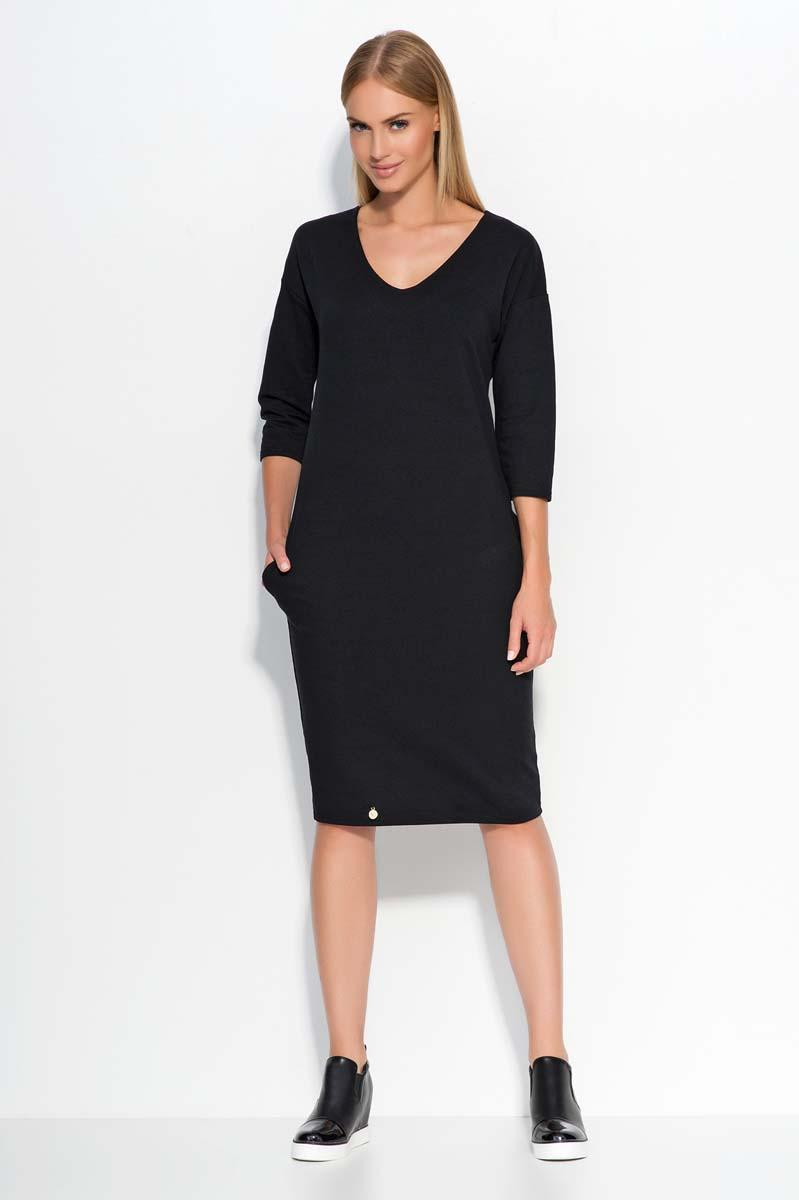 Black Casual Dress with Pockets