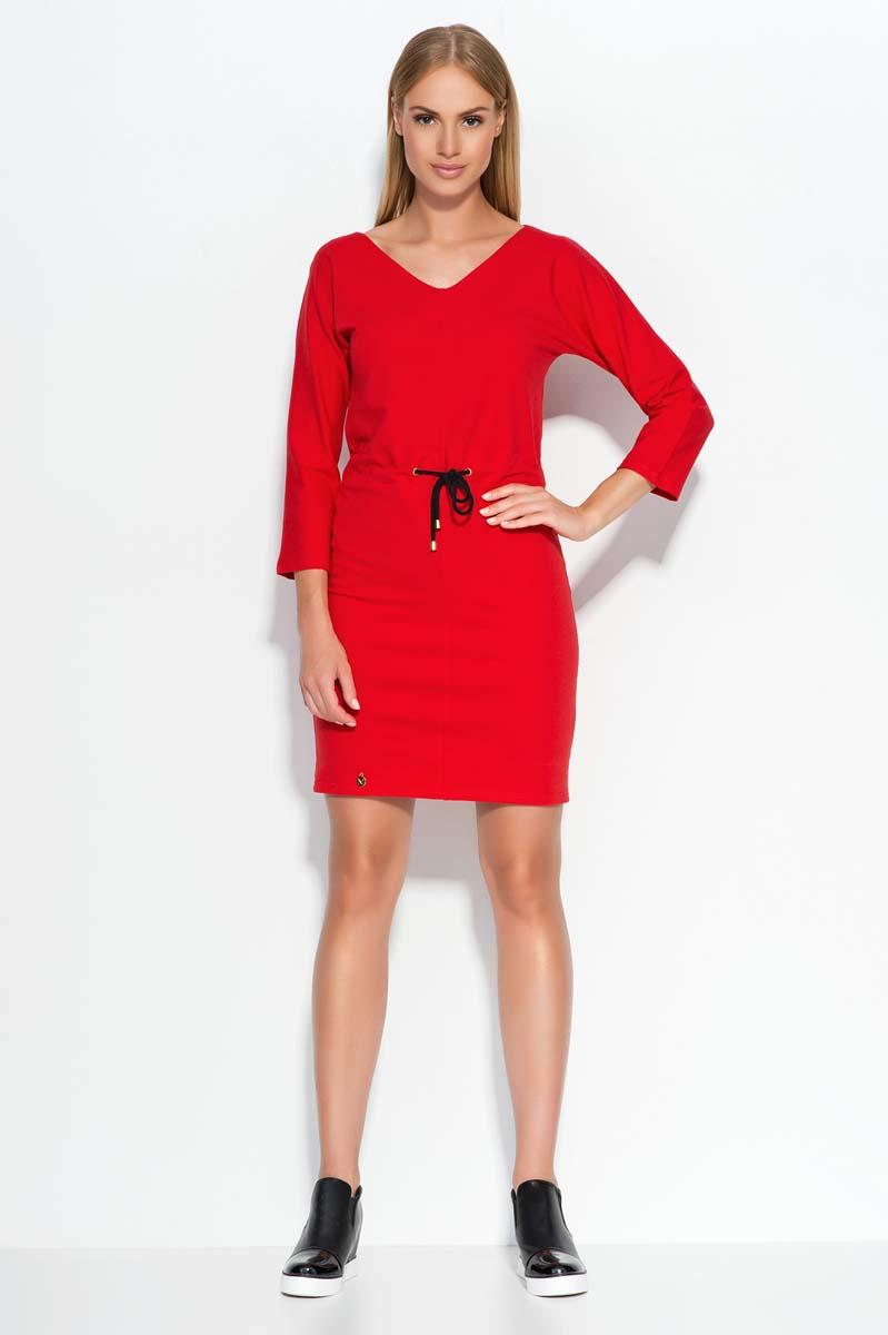 Red Wrap Waist Mini Casual Dress