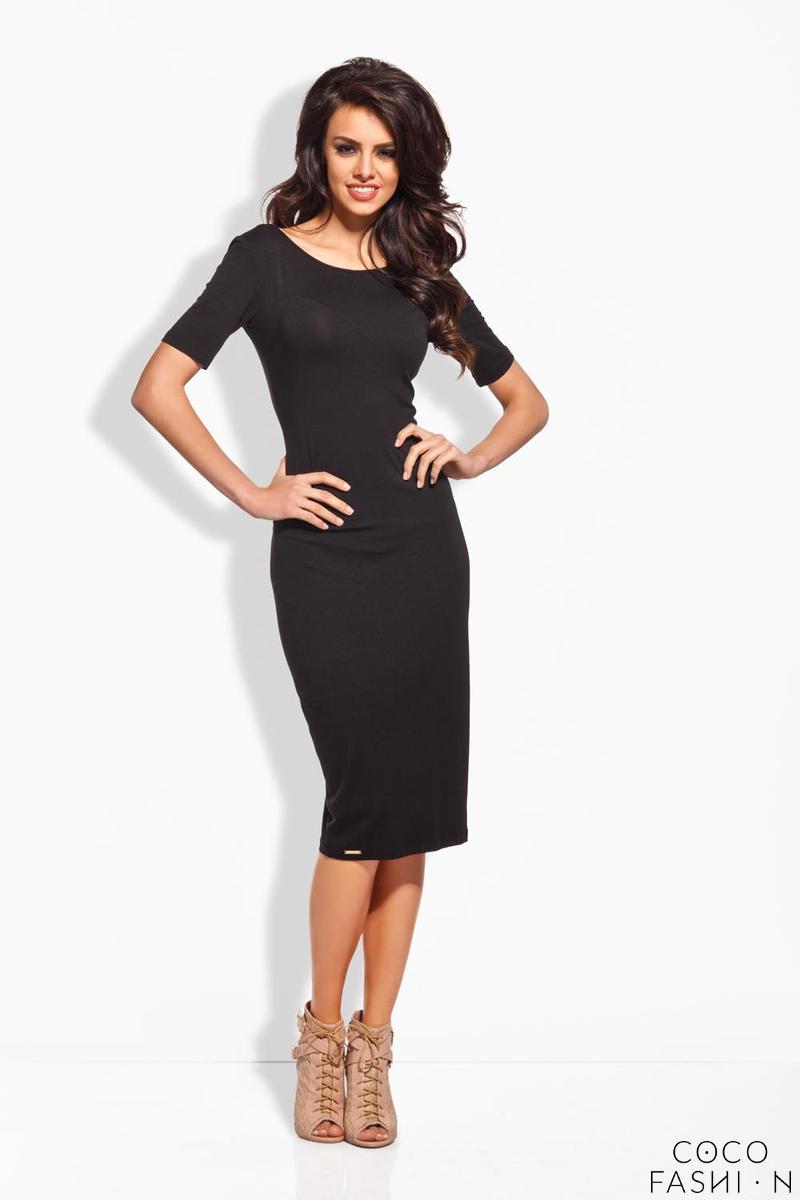 Black Bodycon Fit Short Sleeves Midi Dress