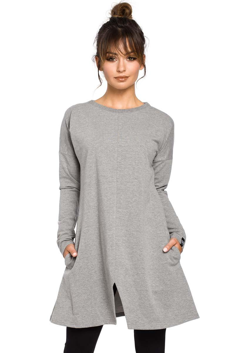 Grey Flared Casual Tunic