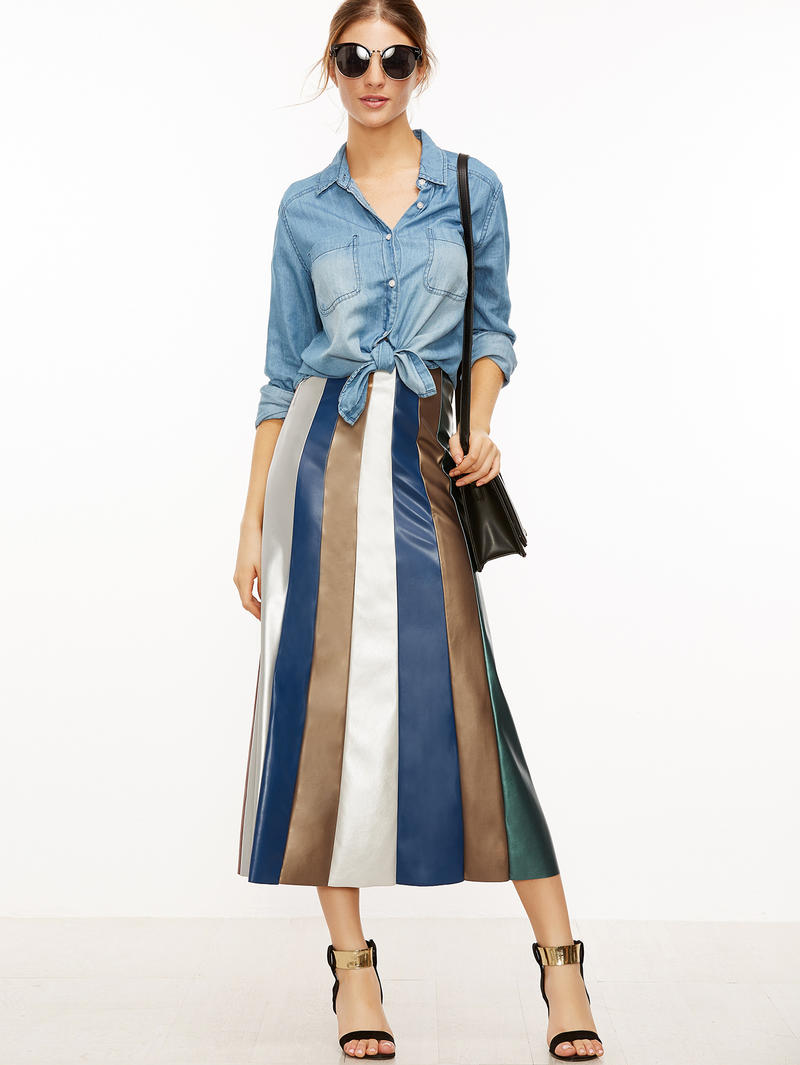 Faux Leather Midi Skirt Colored Stripes