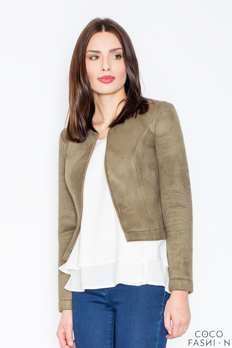 Green Suede Imitation Short Ladies Blazer