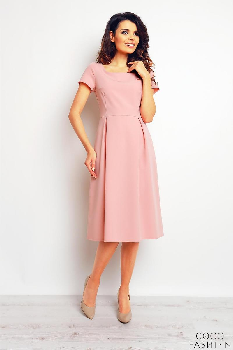 Pink Classic Short Sleeves Midi Dress
