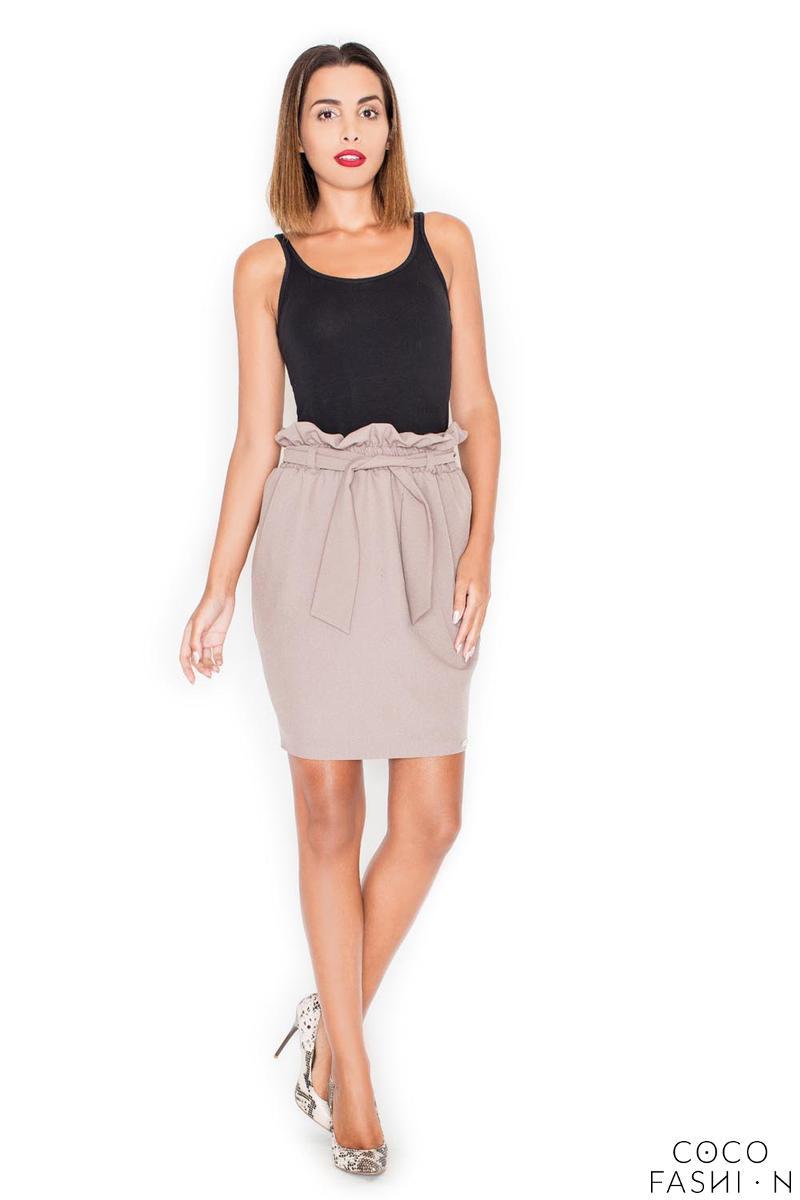Beige Side Pockets Wrinkled Waist Belted Skirt