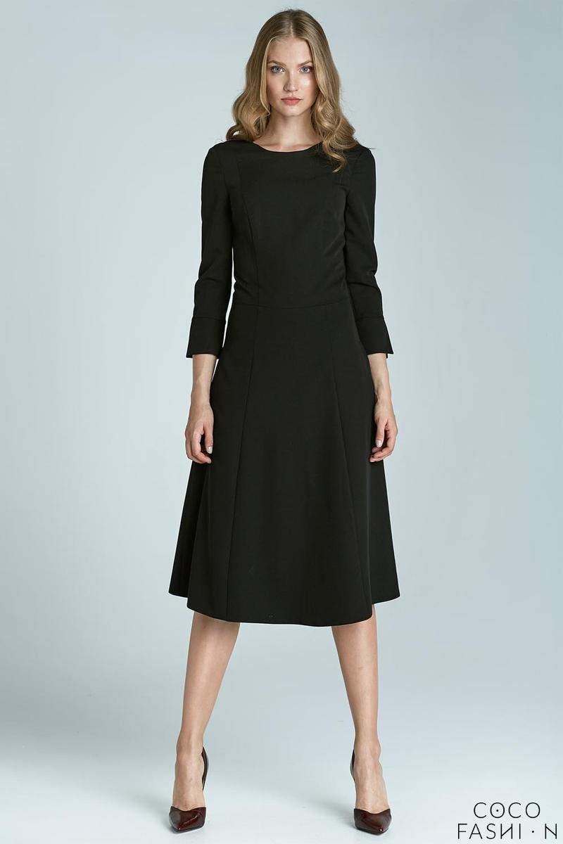 "Black Elegant Midi Dress with ""V"" Back"