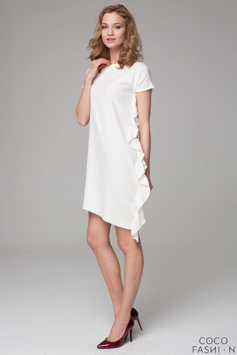 Ecru Simple Dress with Asymetrical Frill