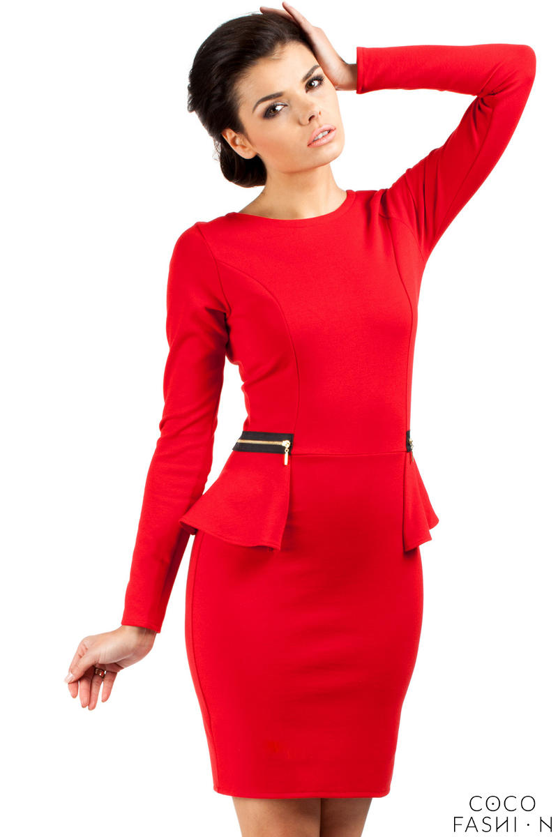 red-seam-shift-dress-with-decorative-zipper-pockets