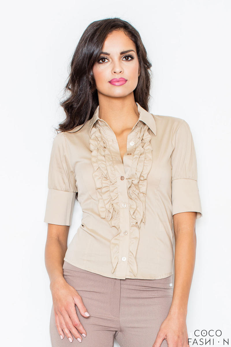 Beige Vintage Collared Blouse with Ruffled Details and Wide Cuffs