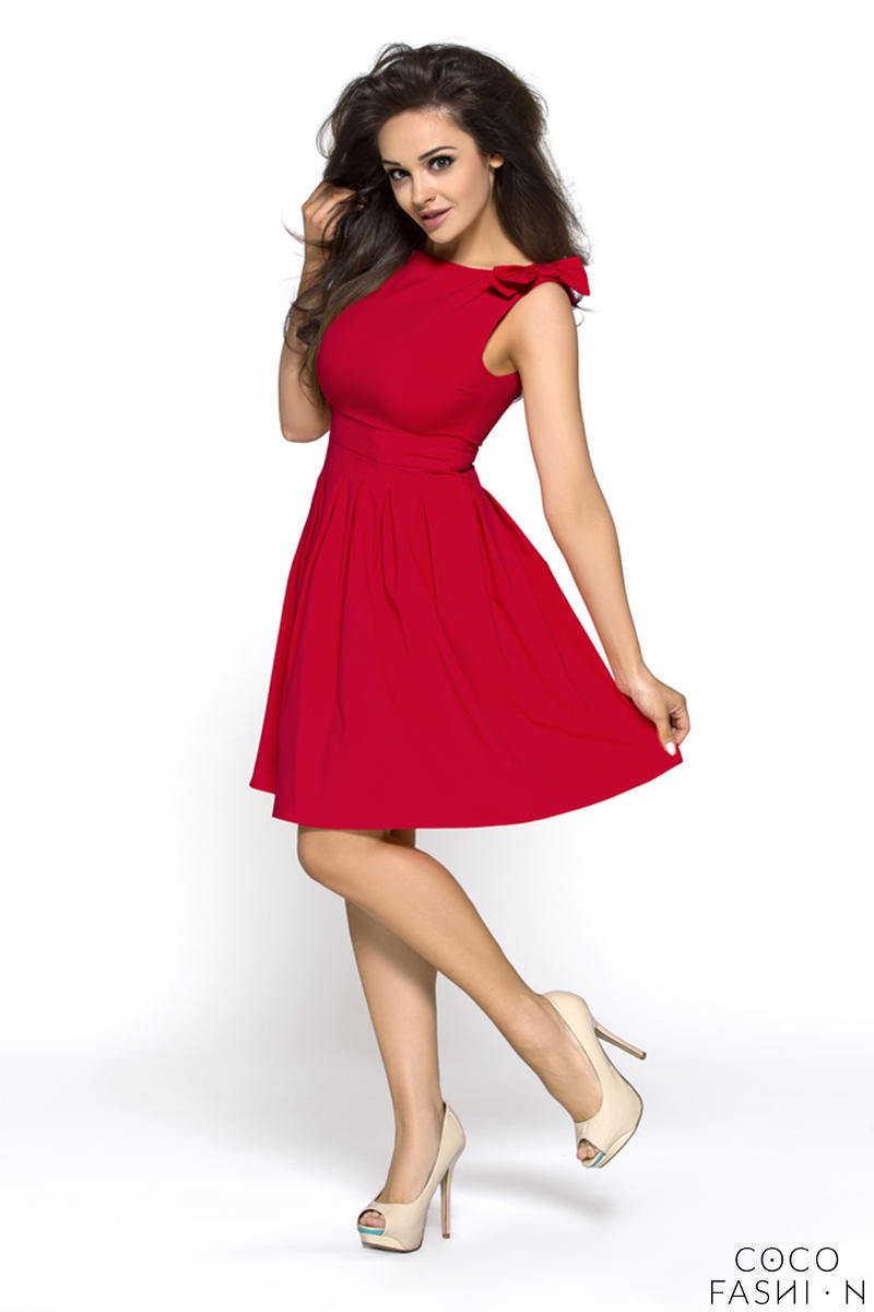 Deep Red Shoulder Bow Sleeveless Flippy Dress