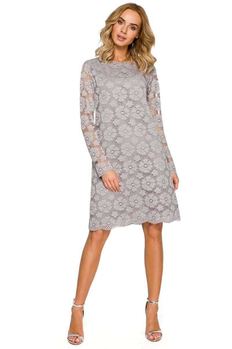 Gray Formal Trapezoid Dress With Lace