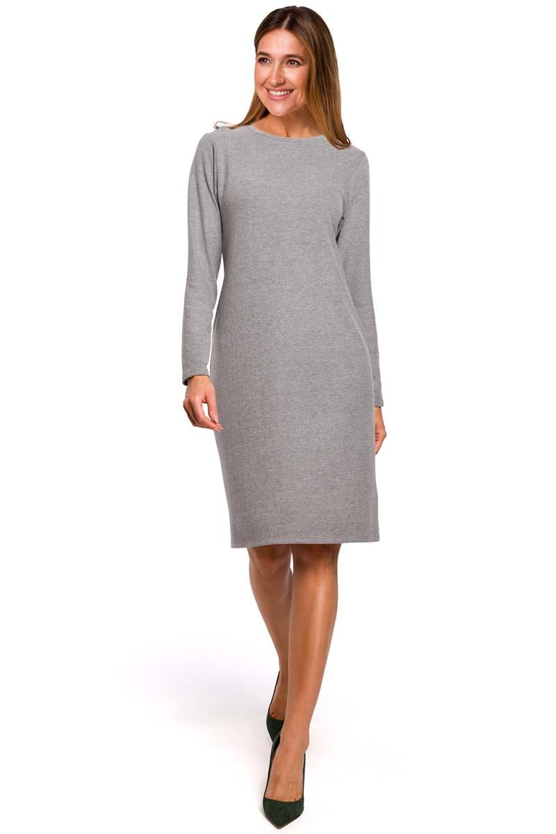Gray Knitted Straight Above Knee Dress