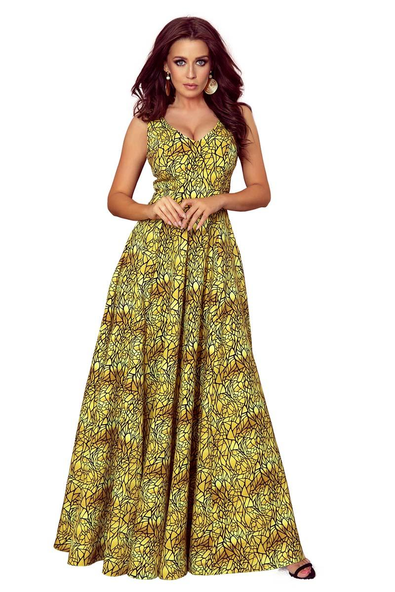 Gold Long Flared Dress with V-neck