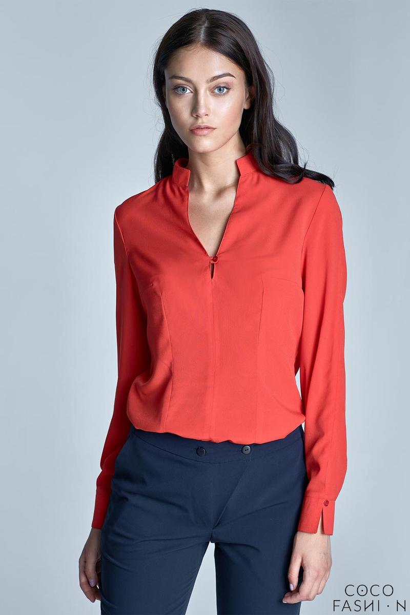 orange-long-sleeved-stand-up-collar-shirt