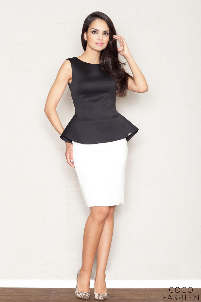 White Flecked Pencil Skirt with Hem Emblem
