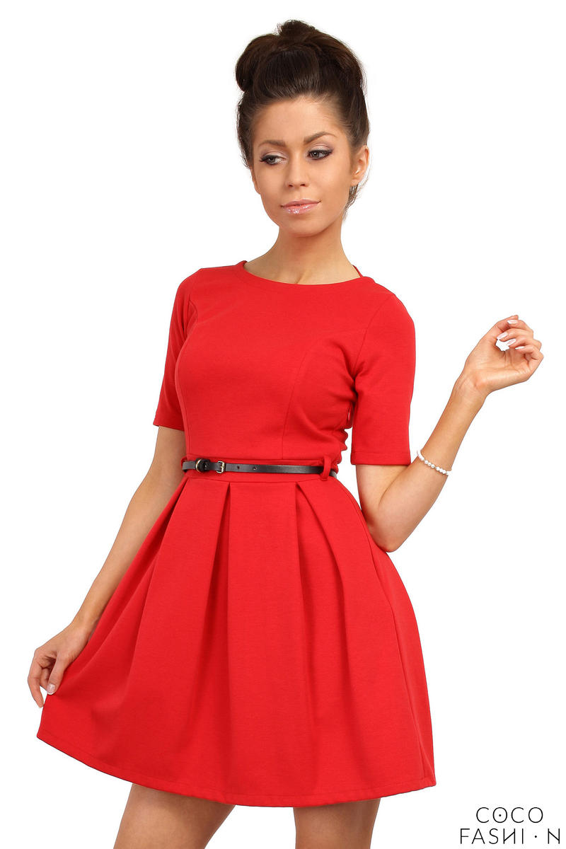 red-magnanimous-modern-belted-tea-length-dress