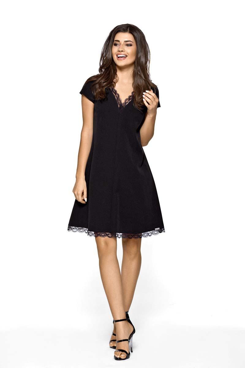 Black Flared Dress with Lace Pipping