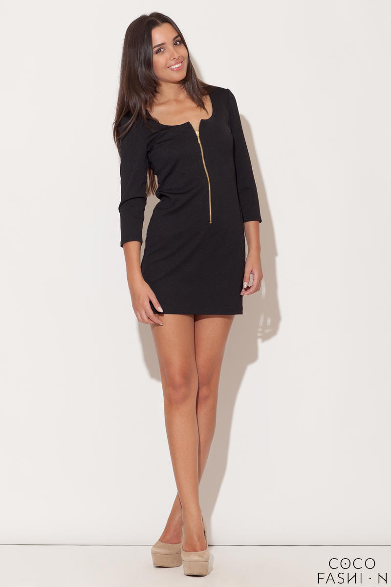 black-zip-down-short-dress-with-34-sleeves