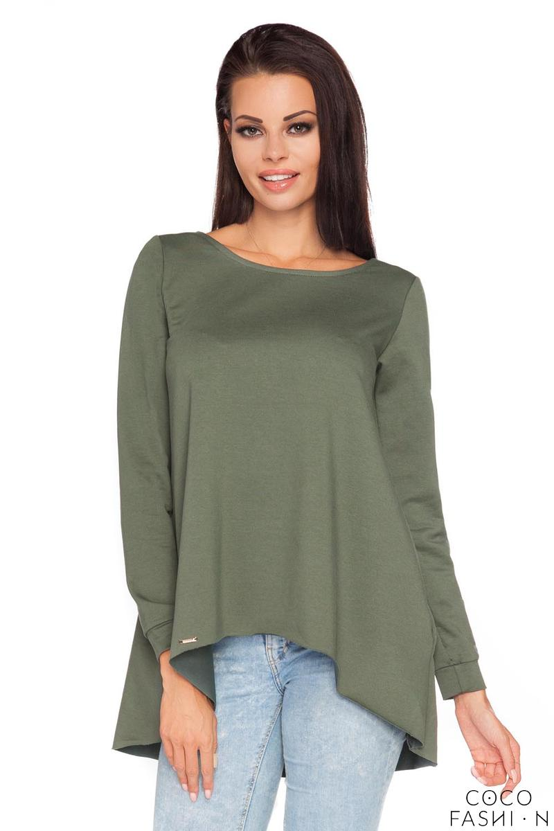 Dark Green  Long Sleeves Blouse with Dipped Hem