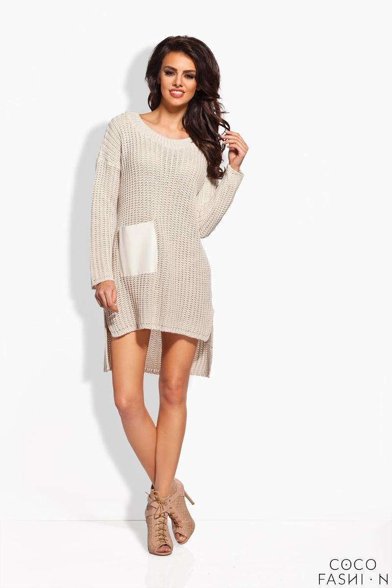 Beige Knitted Tunic With Leather Pocket