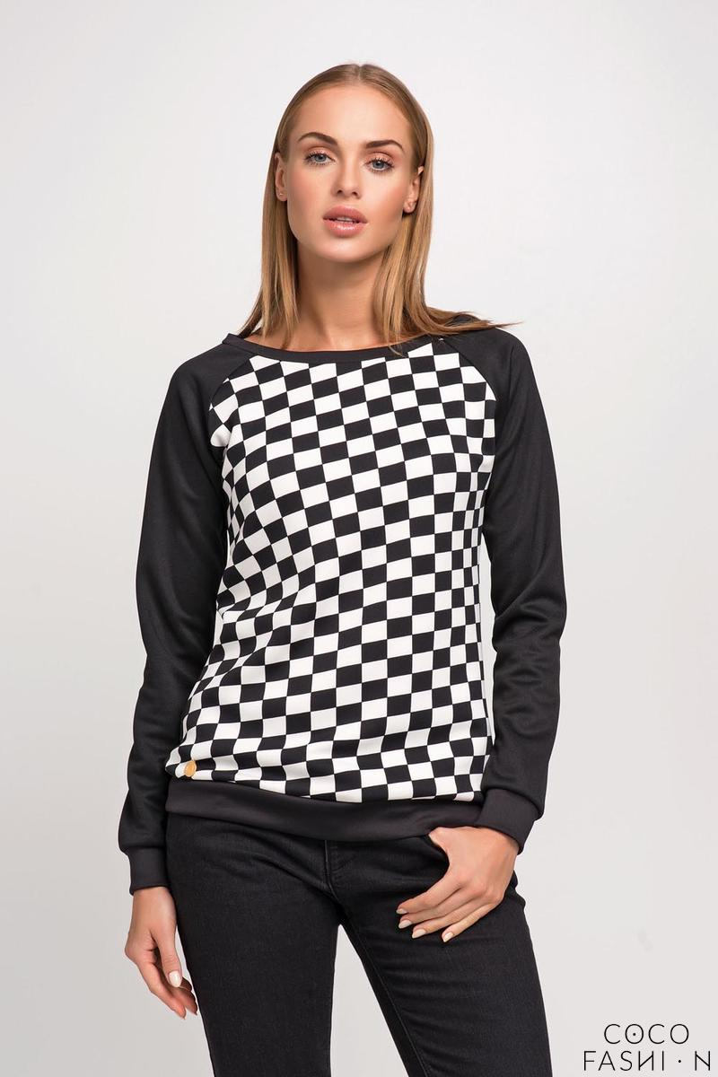 Black&White Checker Pattern Simple Sweatshirt