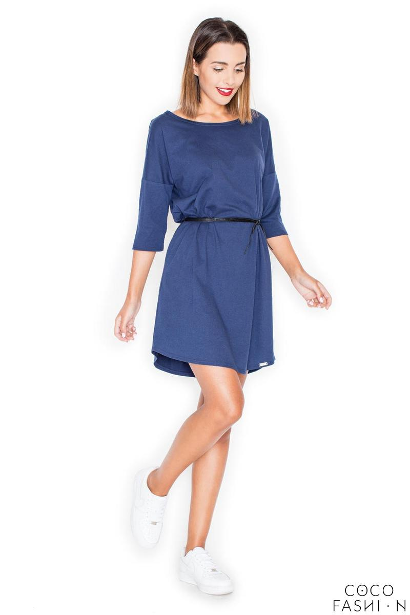 Blue Casual Comfy 3/4 Sleeves Mini Dress with Belt от cocofashion