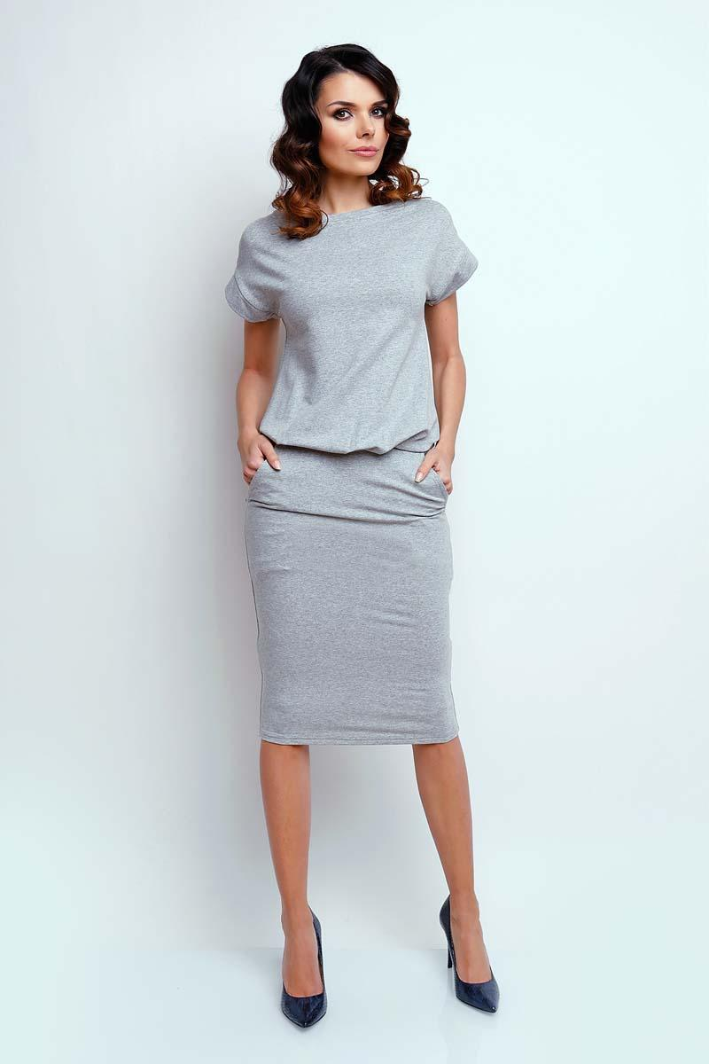 Gray Modern Midi Dress with Short Sleeve
