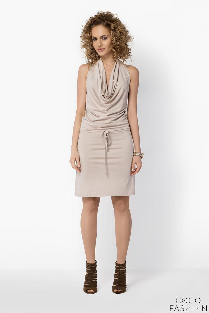 Beige Knee Length Wrinkled Dress