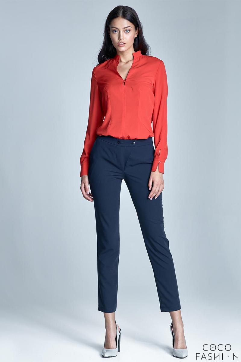 Dark Blue Office Style Cigarette Trousers