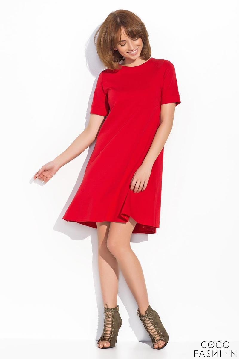 Red Short Sleeves Mini Swing Dress