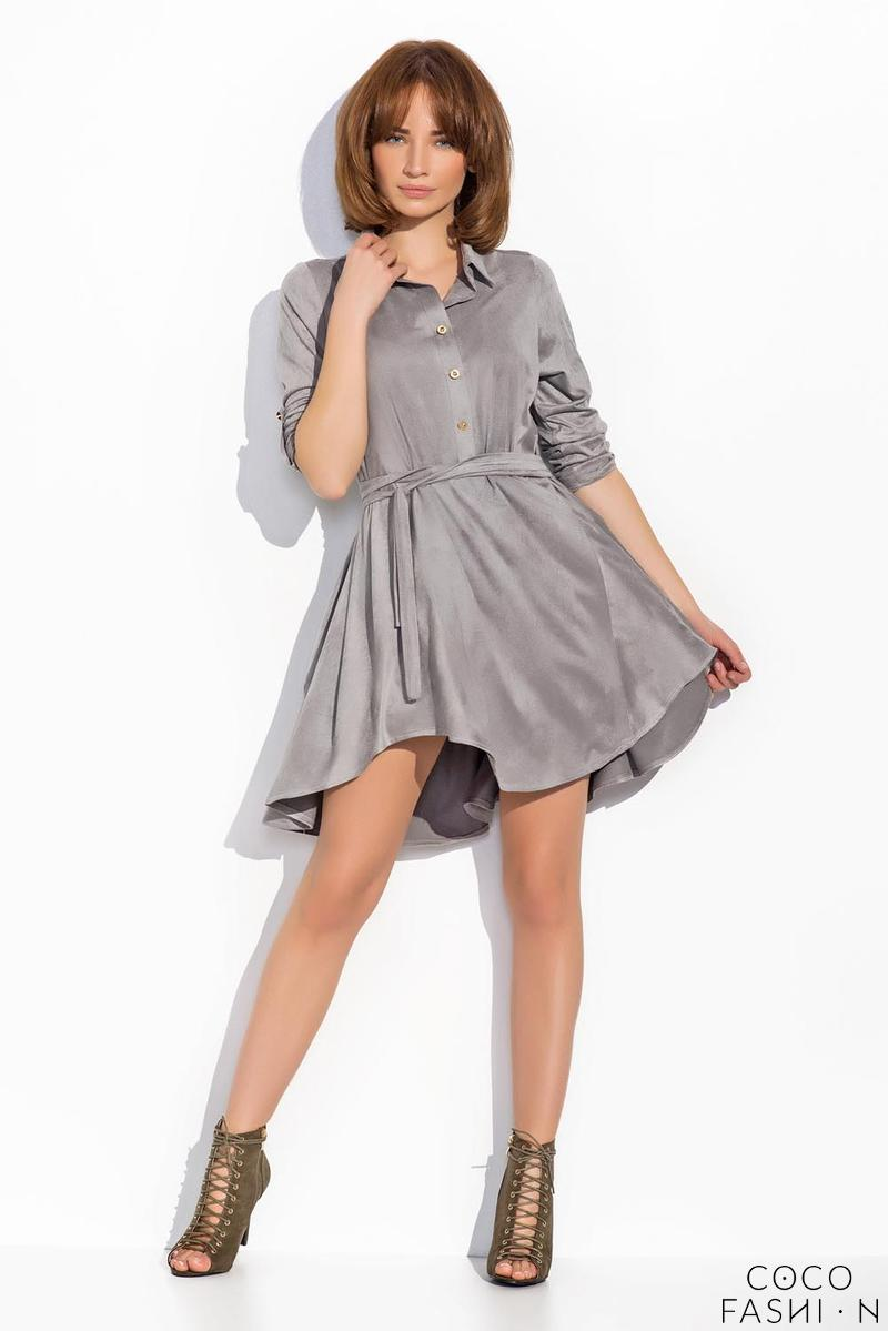 Grey Rolled-up Sleeves Shirts Style Dress