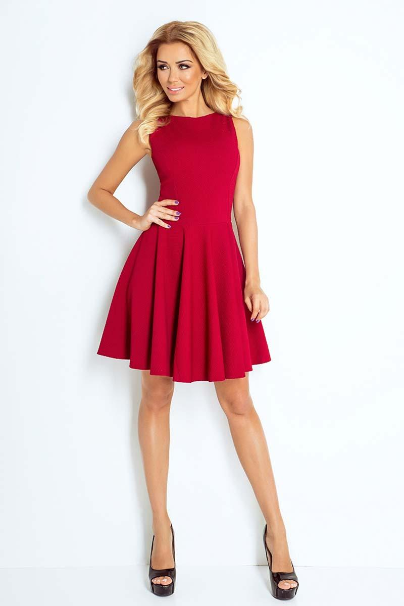 Maroon Sleeveless Coctail Dress with Light Pleats