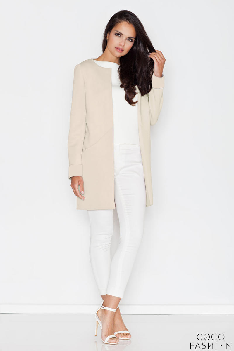 Beige Elegant Round Neck Short Coat