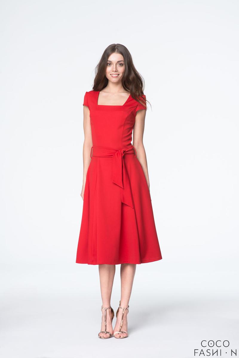 Red Elegant Short Sleeves Self Tie Belt Midi Dress от cocofashion