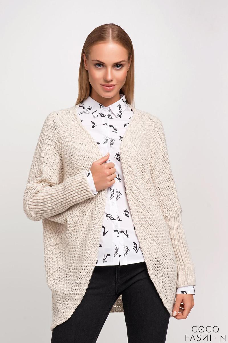 Beige Raglan Sleeves Loose Cardigan