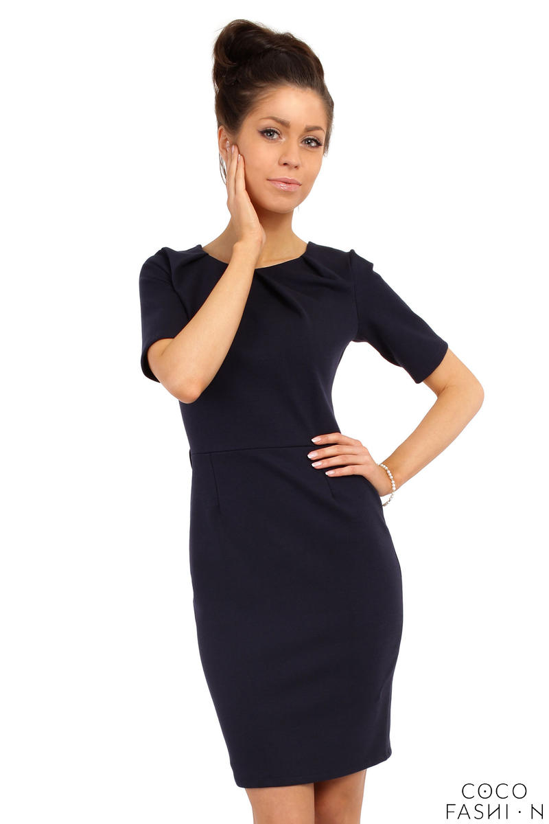 Navy Blue Pleated Neckline Belted Shift Dress