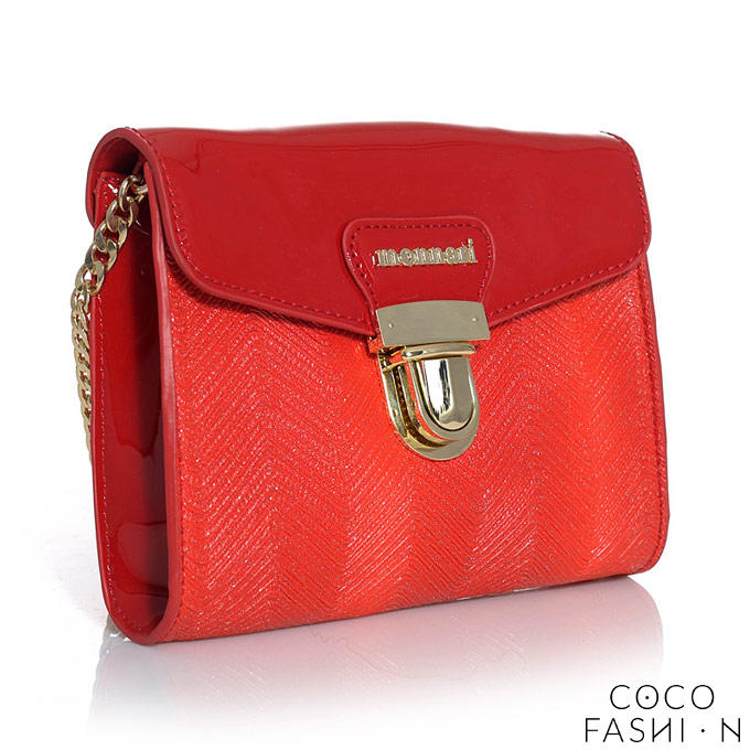 Elegant Shoulder Red Bag With Gold Chain Monnari